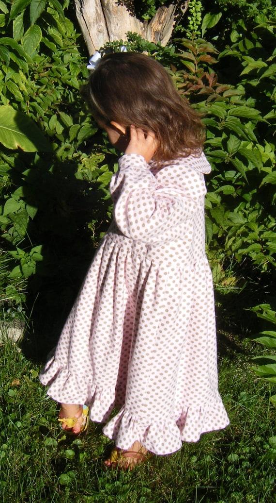 Girls Dress Flannel pink polka dot ruffle hem size 5 HALF PRICE CLEARANCE