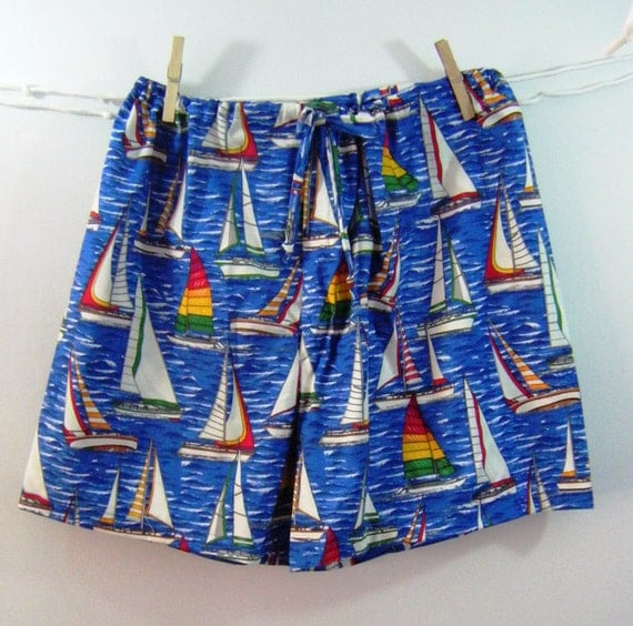 Blue water sailboat pajama shorts boxers LARGE