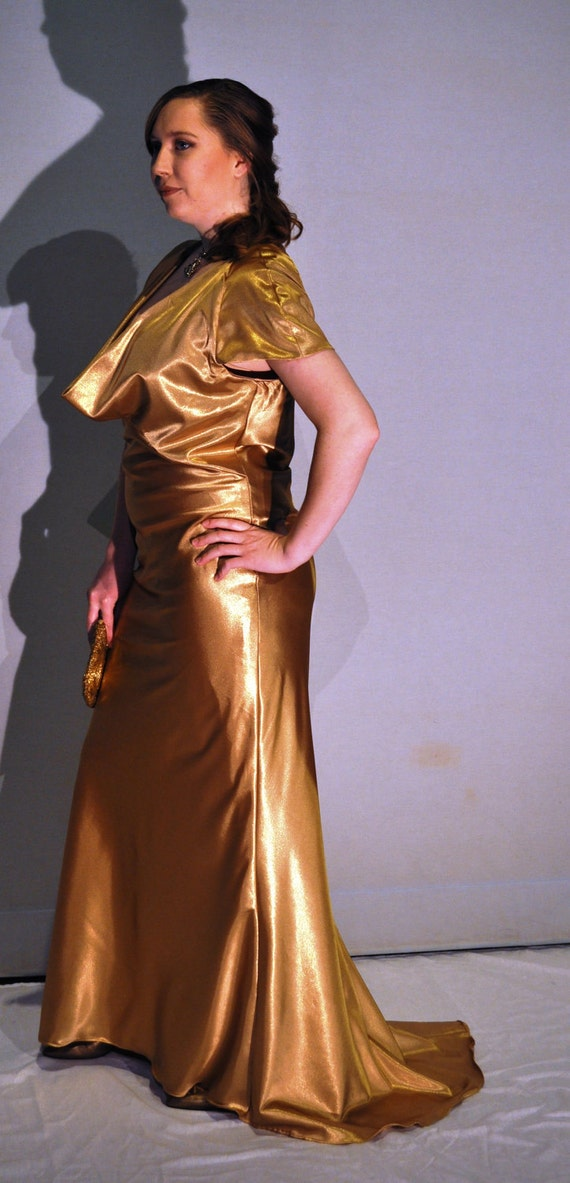 Formal gown bias cut floor length with train ready to ship  size 14 - 16  Large XL  SAMPLE SALE