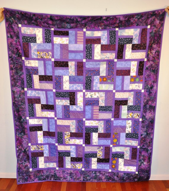 """Quilt shades of purple OOAK 66"""" x 79""""  youth twin lap throw size"""