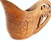 RESERVED FOR LYNNE GREEN  Vintage Hand Carved Wooden Cup Pitcher Yugoslavia Leaf Motif