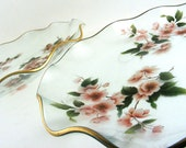 Vintage Cherry Blossom Ruffled Glass Plates Set of 2