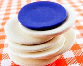 Dollhouse Plates Miniature Bisque White and Blue Lot of 7