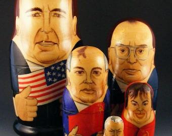 Vintage Nesting Dolls Matryoshka Political Leaders Bush Gorbachev