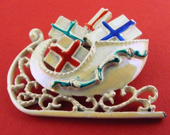 Vintage Brooch Christmas Sleigh With Gifts Enamel