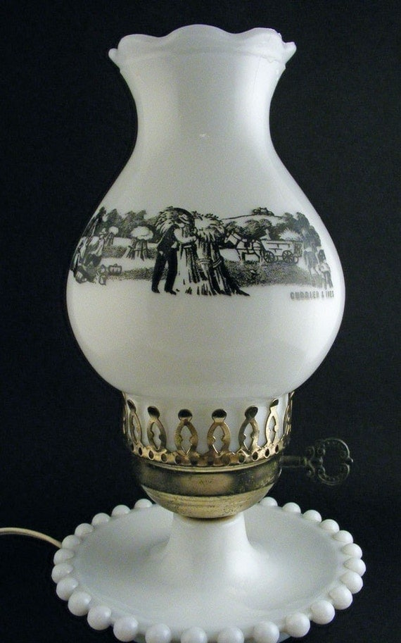 Vintage Currier And Ives Milk Glass Hobnail Globe Lamp By