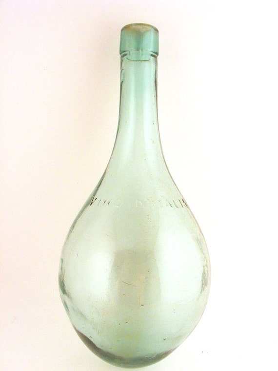 Vintage Round Bottom Wine Bottle Vino D Italia Green Glass