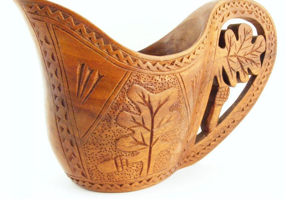 Reserved For Lynne Green Vintage Hand Carved Wooden Cup