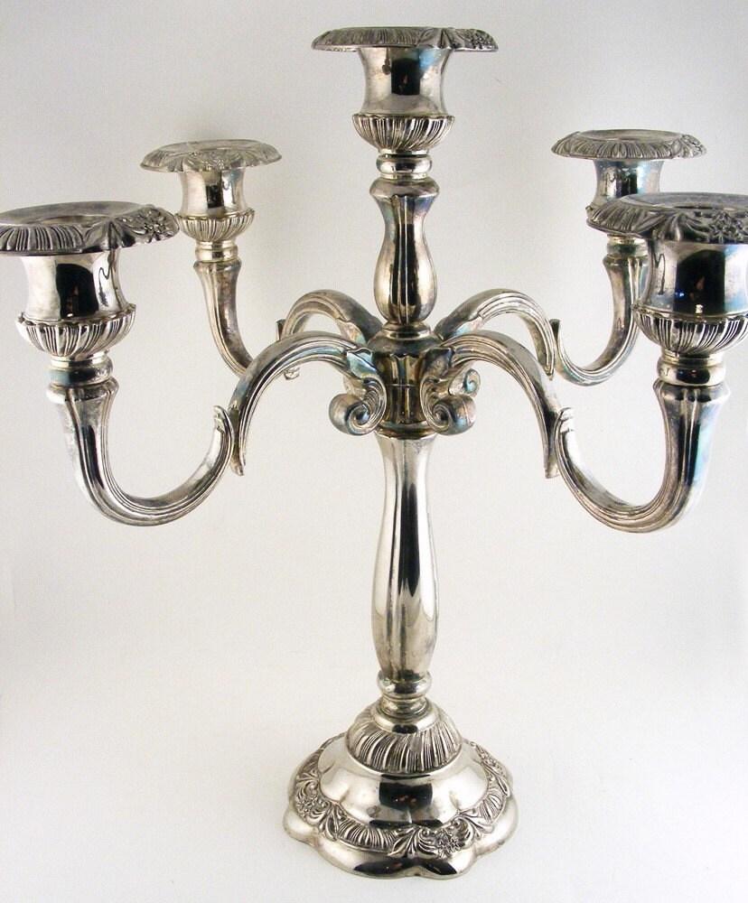 Vintage Godinger Silver Five Arm Candelabra Centerpiece