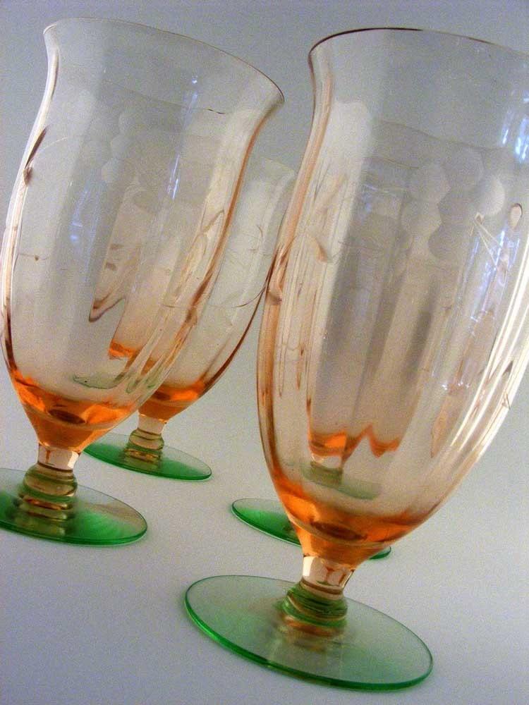 Vintage Depression Glass Water Goblets Watermelon
