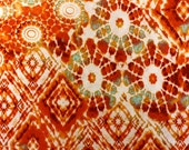 Orange and Sea Glass Green Tie Dye Cotton Knit Fabric Sold by the Half Yard
