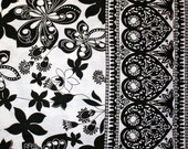 Black and White Flowers with Heart Border Cotton Knit Fabric Sold by the Half Yard