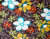 Autumn Flower Garden Cotton Knit Fabric Sold by the Half Yard