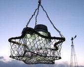 Mason Jar Solar Light Chandelier, 3 Vintage Ball Pint Solar light Jars, Rustic Star Hanging Wire  Basket, Upcycled Recycled Lighting, Weddings, Garden Party Nights, Original Design by TreasureAgain