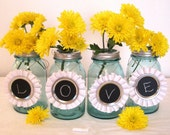 White Chalkboard Charms Mason Jar Table Numbers for Country Weddings, Birthday Parties, Cottage Chic Mason Jar Recycled Ribbons
