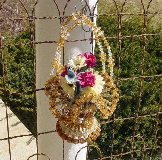 Vintage Basket, Bead and Pin or Safety Pin Basket with upcycled Flower Frog EASTER