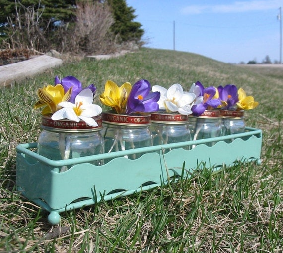 Flower vases in spring mint green metal box upcycled baby food jars