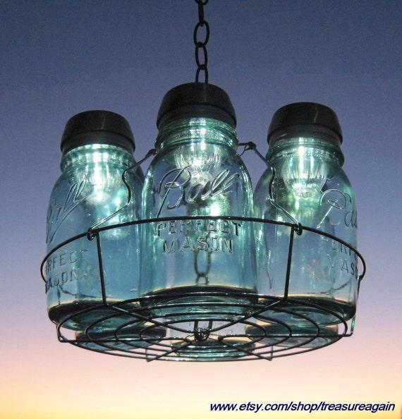 Mason Jar Chandelier: Mason Jars Solar Lights ChandelierSOLD By TreasureAgain