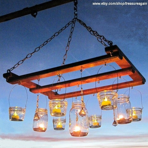 Mason Jar Chandelier, Candles, Lanterns, Luminaries, Ball Jars, Upcycled Lighting, Garden Party, Weddings by TreasureAgain