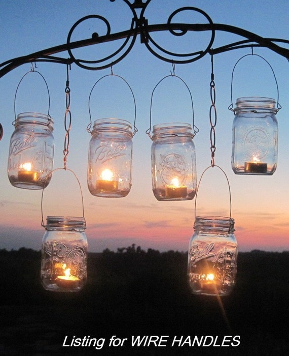 DIY Mason Jars Lanterns Wires, 12 DIY Hanging Wire, Custom Order, Handmade Party Luminaries, Attach to Jar, Lanterns Kit by TreasureAgain