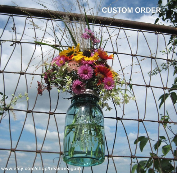 Mason Jar Vase Flower Frog Lids Custom Order Antique Blue