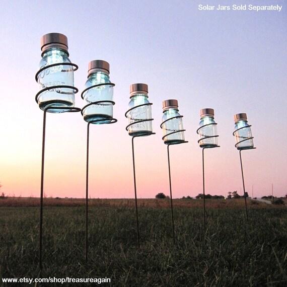 RESERVED 6 Garden Stake Mason Jar Outdoor Candle Holders, Tall Decorative Wedding Lighting, Metal Mason Jar Lantern Patio Stake