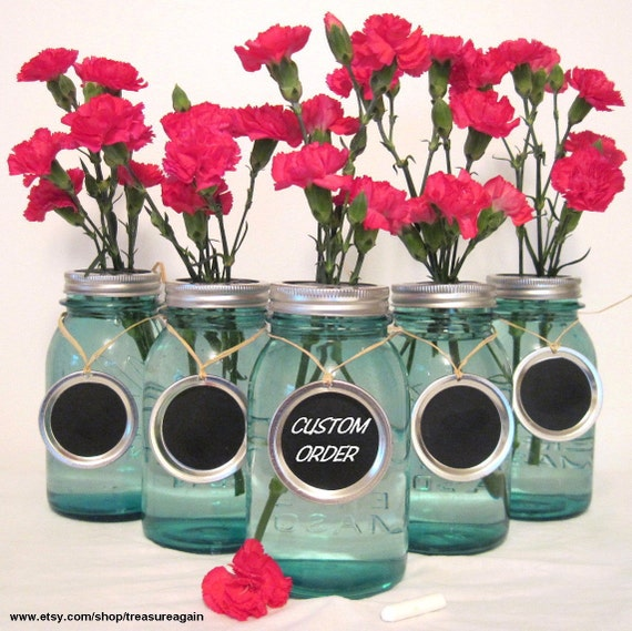 Custom Chalkboard Wedding Table Numbers, Custom Order Mason Jar Labels Mason Jar Wedding  Handmade Upcycled Charms Only-No Jars
