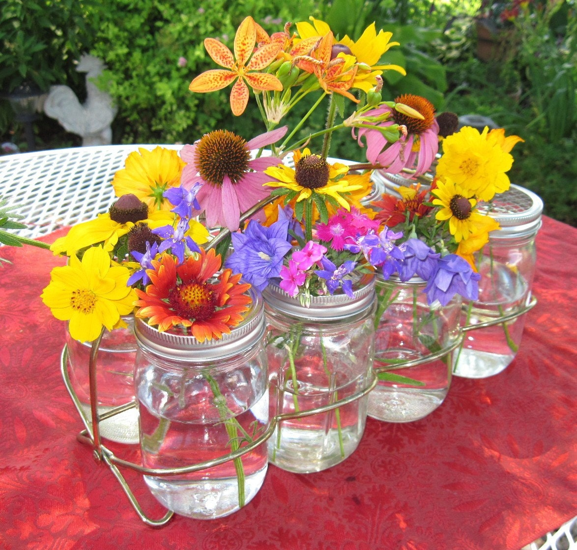 Mason jars caddy mason jar flower frog lids for ball jars for How to arrange flowers in mason jar