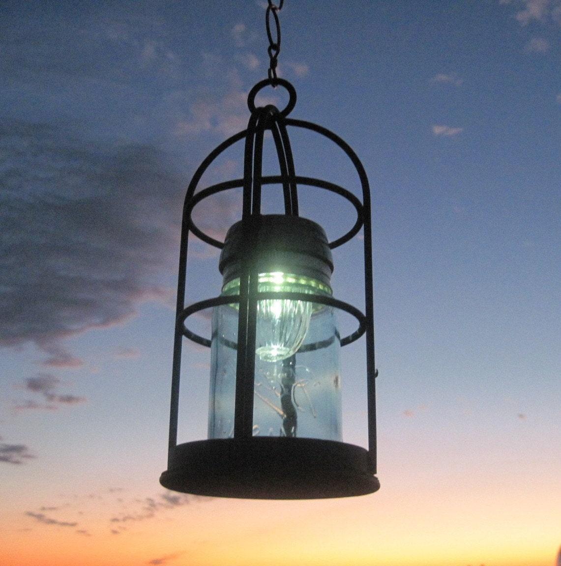 Mason Jar Solar Light Vintage Blue Jar And Solar Lantern
