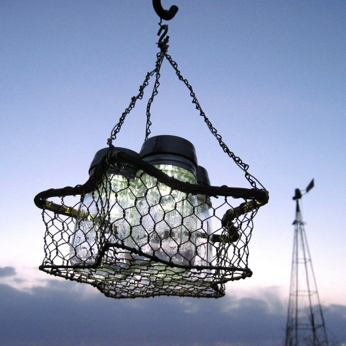 Mason Jar Solar Light Chandelier 3 Vintage Ball Pint Solar