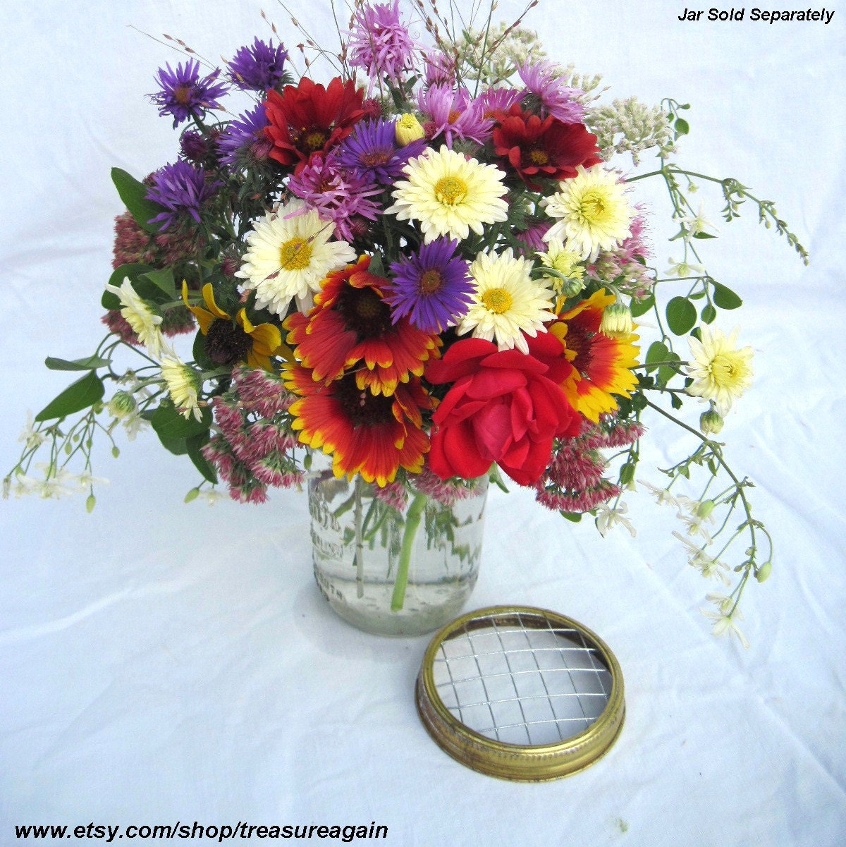 Rustic Flower Lids 6 Wide Mouth Mason Ball Jar By
