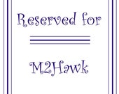 Reserved listing for M2Hawk