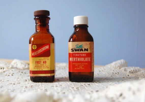 Amber Medicine Bottles Mid Century Vintage Instant Collection Merthiolate Mercurochrome Tinctures N.F. Lily Swan Purex