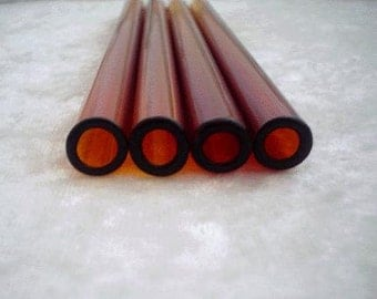 Set of 4 Amber ReUseAble Glass Straws