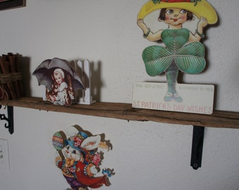 Up Cycled Wrought Iron Barn Wood shelf Complete with in tact rusted nails