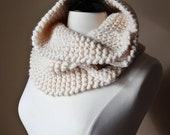 The Marshy Hope Cowl -Women's / Teen's Chunky Oversized Knitted Ivory Buttoned Cowl Snood Neckwarmer