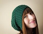 Spring Slouchy Hat in Jade / Green - Women's/Teen's crocheted Spring Hat