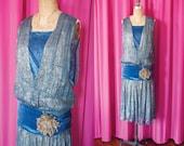 VIntage 1920's Blue Velvet and Jaquard Lamé Flapper Dress