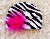 Zebra Baby Hat - Baby Hat - Baby Beanie - Cotton Hat - Marabou - Feather Puff in Hot Pink