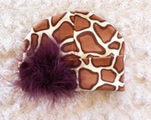 Giraffe Baby Hat - Newborn Hat - Baby Hat - Baby Beanie - Cotton Hat - Marabou Puff in Brown