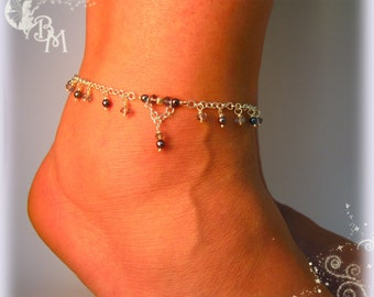 Iolite and Pearl Beaded Anklet
