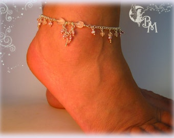 Rose Quartz and Pearl Beaded Anklet