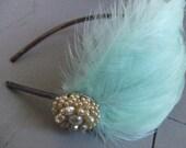 mint green feather headband