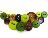 Green Apple Statement Button Necklace