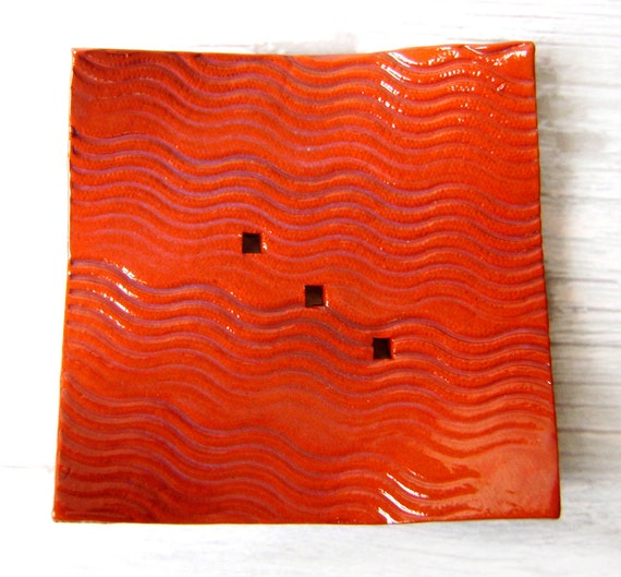 Orange square plate in tomato red earthenware ceramic with wavy lace imprint - home decor, soap dish, catch all, ring saver