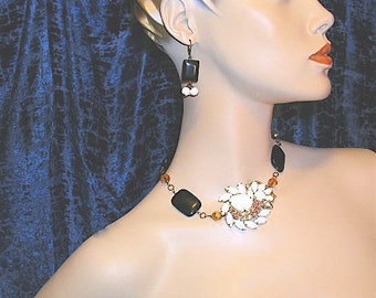 Reconstructed Vintage Choker and Earrings
