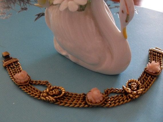 GOLDETTE N.Y. Rose & Cherub Mesh Bracelet