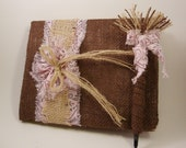 Country Rustic Burlap Wedding Guest Book and Pen Set. Choose Your Fabrics