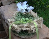 Rustic Burlap Nest Love Birds Ring Pillow Alternative and  Cake Topper.
