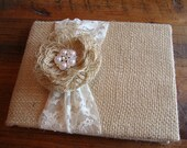 Rustic Burlap Lace and Pearl Wedding Guest Book - Choose Your Colors